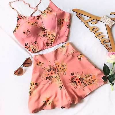 Conjunto Cropped e Short Floral | Ana Rosa