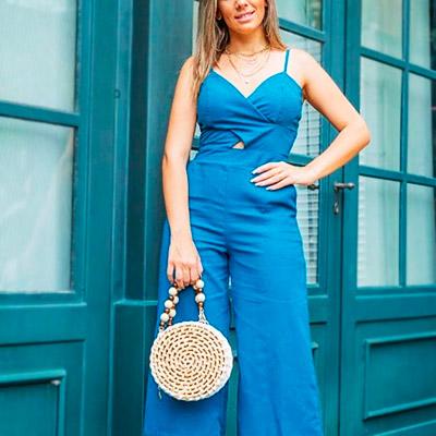 Macacão Longo Azul | Espaço SD Modas