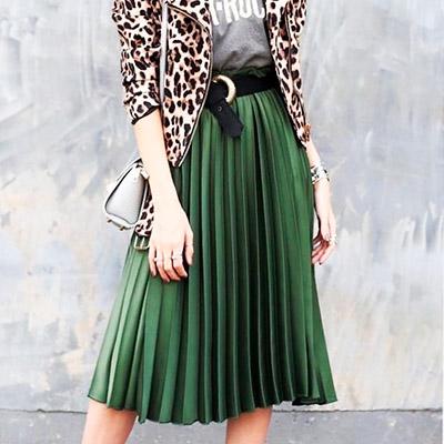 Saia Plissada Verde Militar | Moda Cherye