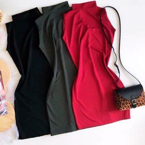 Vestido Canelado Gola Alta   Thay Figuer