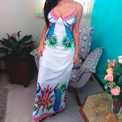 Vestido Longo Estampa Floral    Ivi Moda