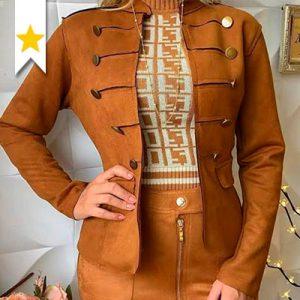 Blazer Suede Feminino   Val'fashion