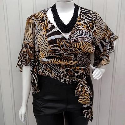 Blusa Transpassada Plus Size   Cheia de Charme