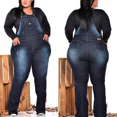 Jardineira Jeans Plus Size | Lili Elegância Plus