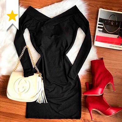 Vestido Canelado Feminino | QBonita Moda Feminina