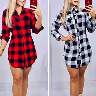 Vestido T-Shirt Xadrez | Val'fashion