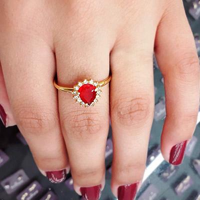 Anel Pedra Vermelha | Lu&Nete Rommanel