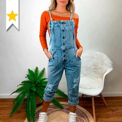 Macacão Jeans Feminino | Marina Maynarte Modas
