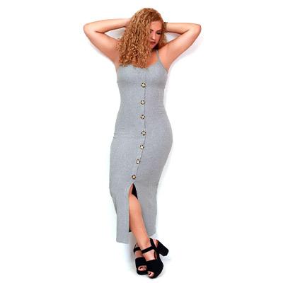 Vestido Canelado Cinza | Gra Modas