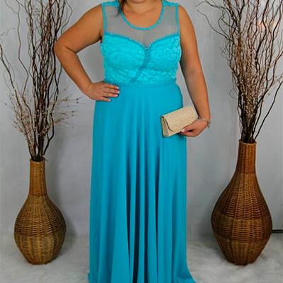 Vestido Longo de Festa Azul Claro | Lilás Modas