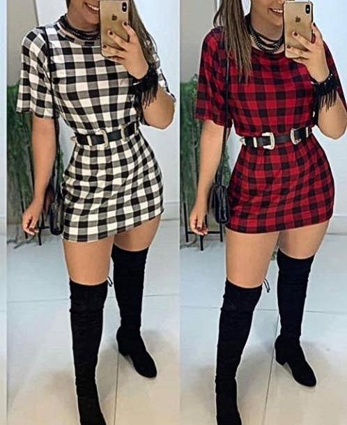 Vestido Xadrez Viscolycra   Morena Closet