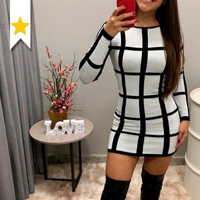 Vestido de Tricô   Paraíso Fashion