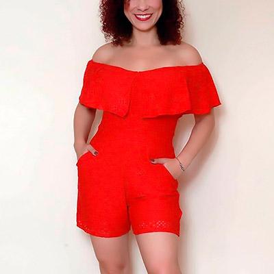 Macaquinho Ciganinha Vermelho | Passarela da Moda