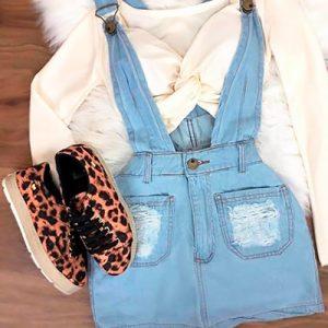 Salopete Jeans Feminina | Dyfato