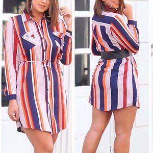 Vestido Chemise de Listras   Vianna Store