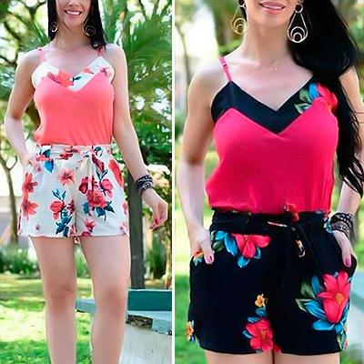 Conjunto Blusa e Short Floral | Atual Moda