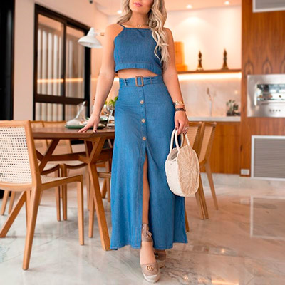Macacão Longo Jeans | Marina Maynarte