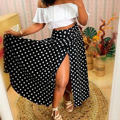 Saia Envelope de Poá | Moda Cherye