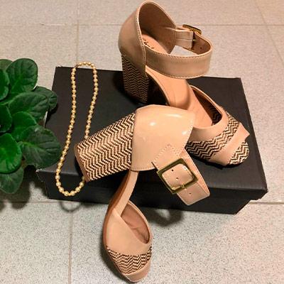 Sandália Salto Quadrado   Shekinah Calçados