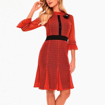 Vestido Rendado Vermelho   Boas Novas