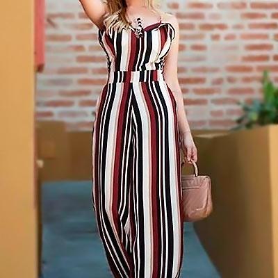 Macacão Longo Estampado | Espaço Fashion