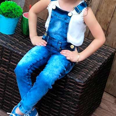 Jardineira Infantil Jeans   Planet Kids Atacado e Varejo