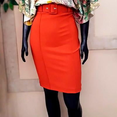 Saia Midi Laranja | Angel Fashion Multimarcas