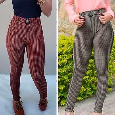 Calça Skinny Xadrez | Rosa Bella Moda Feminina