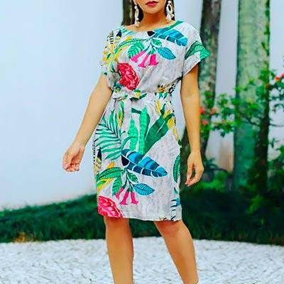 Vestido Estampado Midi | Letícia Rios