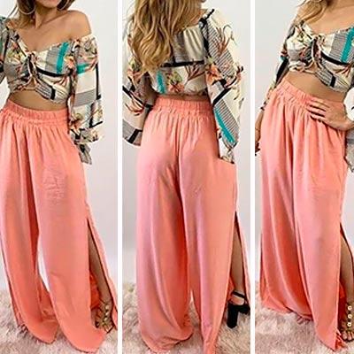 Calça Pantalona Colorida | Linda Flor