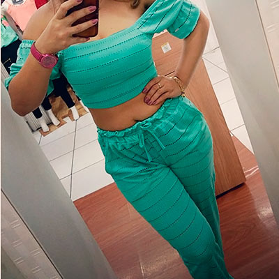 Conjunto Cropped e Calça | Lara Moda Feminina