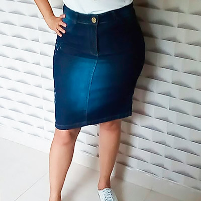 Saia Jeans Básica | Boas Novas