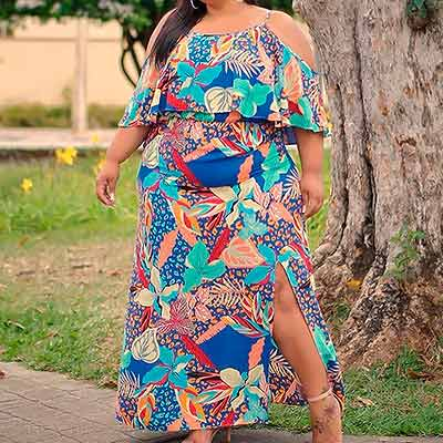 Vestido Longo Estampado | Lili Elegância Plus