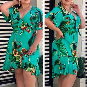 Vestido Estampado Midi | Lili Elegância Plus