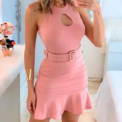 Vestido Justo Rosa | Rosa Bella Moda Feminina