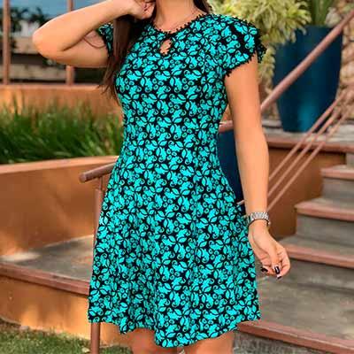 Vestido Estampado Verde | Rosa Bella Moda Feminina