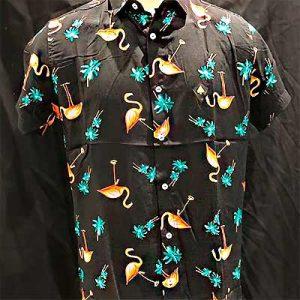 Camisa Masculina Flamingos | Ana Costureira