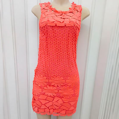 Vestido Coral em Renda |Vera Modas