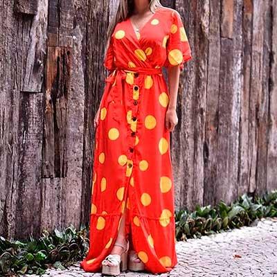 Vestido Longo Poá | Impacto Moda e Acessórios