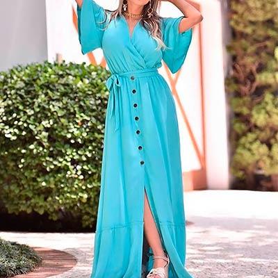 Vestido Longo Azul | Impacto Moda e Acessórios