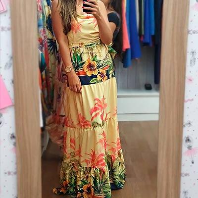 Vestido Longo Estampado | Ateliê da Larisse