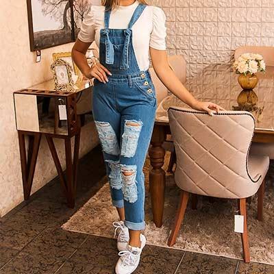 Macacão Jeans Destroyed | Marina Maynarte Modas