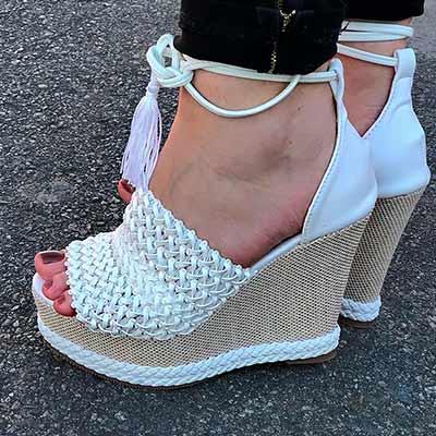 Sandália Anabela Branca | Namitala Calçados