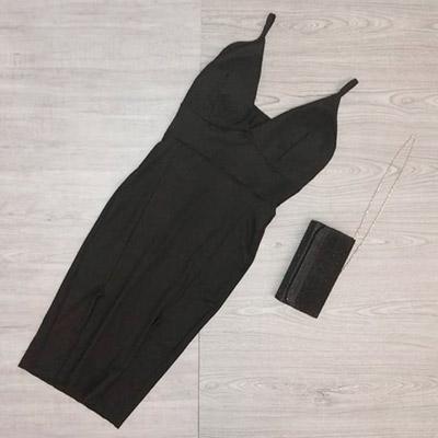 Vestido Midi Preto | Aquamarine Modas