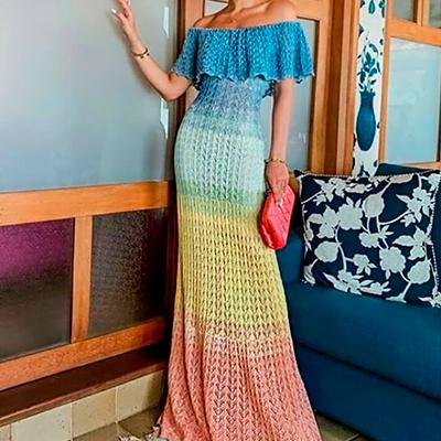 Vestido Tricô Colorido | Nanda Confecções