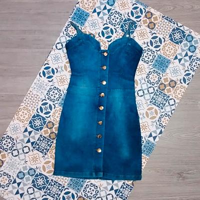 Vestido Jeans Botões | Linda Flor