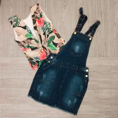 Jardineira Saia Jeans | Margo Moda Plus