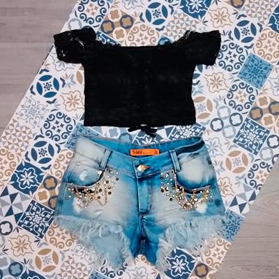 Conjunto Cropped e Short | Lavínia Moda feminina