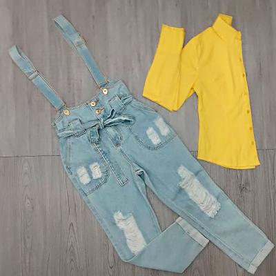 Salopete Jeans Destroyed | Rose Amorim Modas