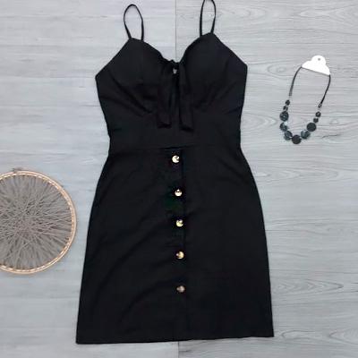 Vestido Preto Botões | Você Princesa